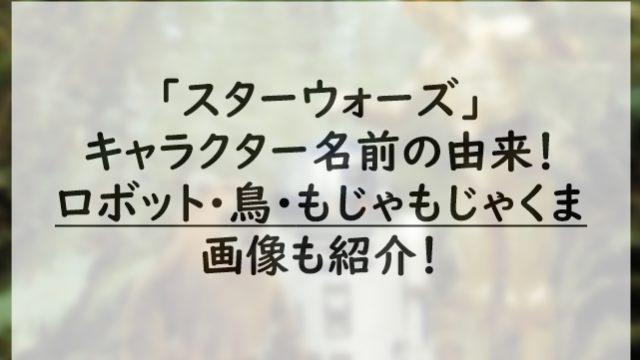 スターウォーズキャラクター名前の由来!ロボット・鳥・もじゃもじゃくまの画像も紹介!